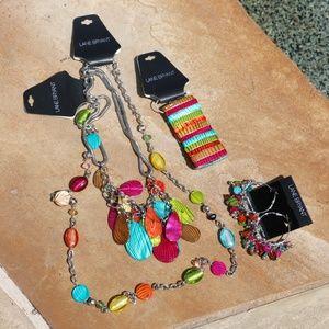 NEW! Chunky Boho Necklaces Earrings & Bracelet Set